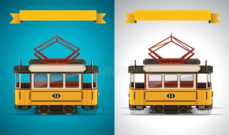 Vector retro tramXXL pictogram vector illustratie