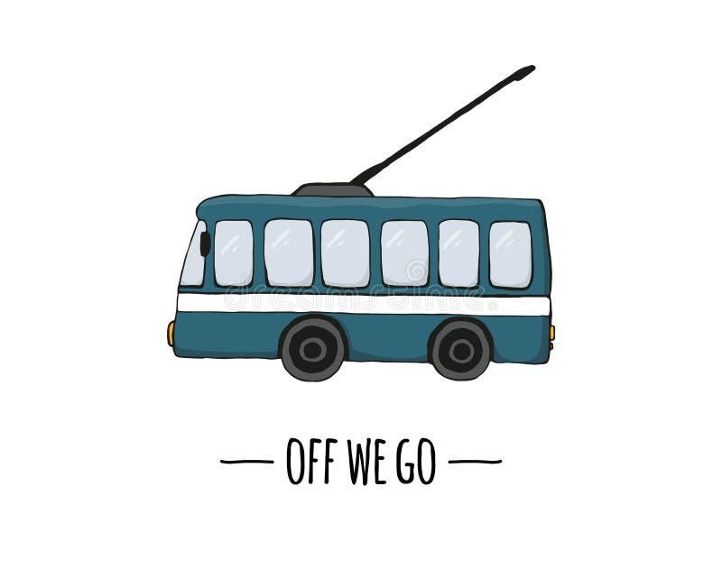 Vector retro transport icon. Vector illustration of trolley bus royalty free illustration