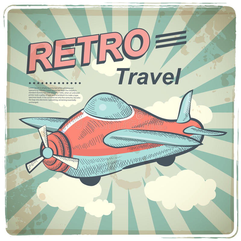 Vector Retro travel illustration. With a plane and a vintage background vector illustration
