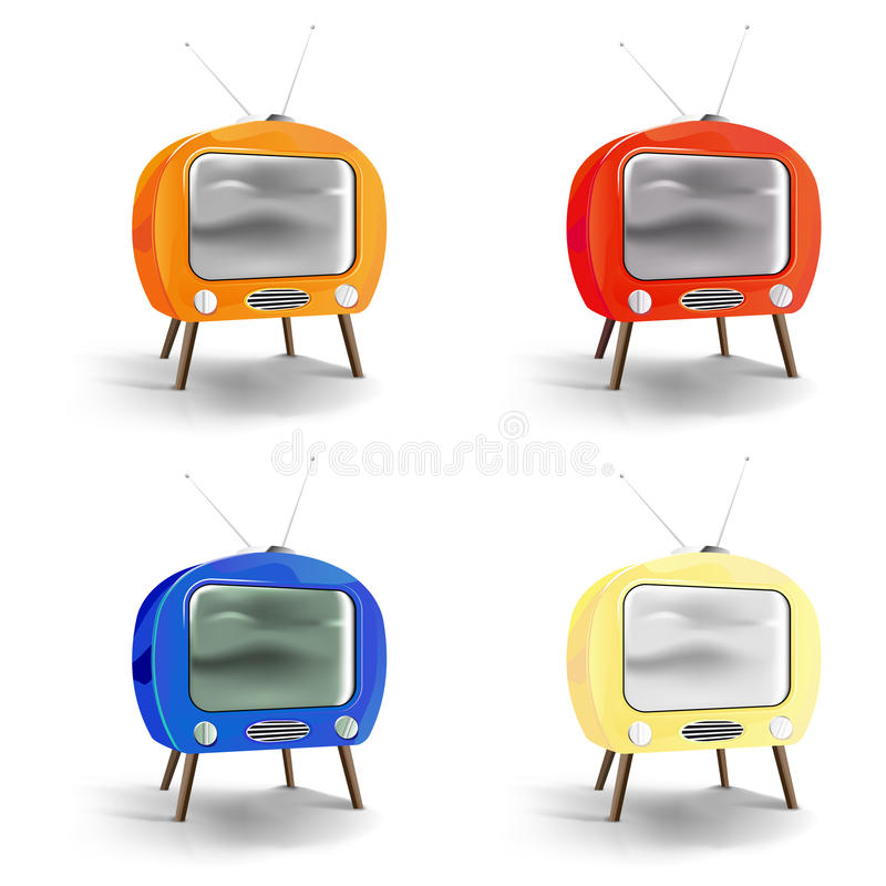 Vector retro tv set. Retro tv set. Vector file added vector illustration