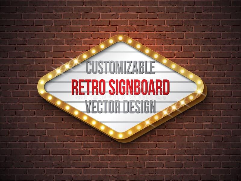 Vector retro uithangbord of lightbox illustratie met klantgericht ontwerp op bakstenen muurachtergrond Lichte banner of stock illustratie