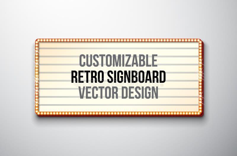 Vector retro uithangbord of lightbox illustratie met klantgericht ontwerp op schone achtergrond Lichte banner of wijnoogst stock illustratie
