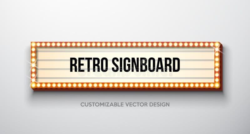 Vector retro uithangbord of lightbox illustratie met klantgericht ontwerp op schone achtergrond Lichte banner of wijnoogst vector illustratie