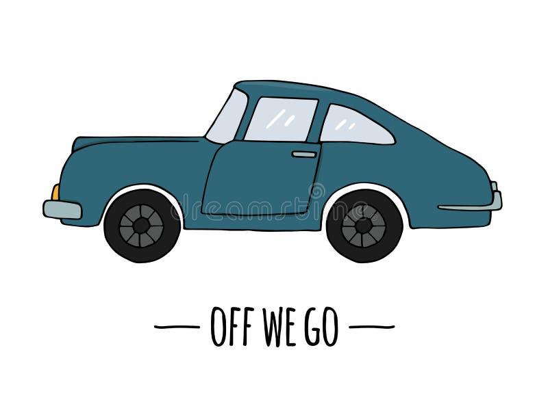 Vector retro vervoerpictogram Vectordieillustratie van auto op witte achtergrond wordt ge?soleerd vector illustratie
