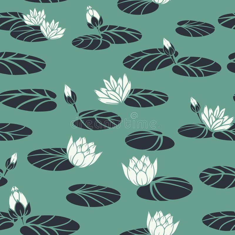 Vector Retro Water Lilies in Swan Pond seamless pattern background. Perfect for fabric, wallpaper and scrapbooking projects stock illustration