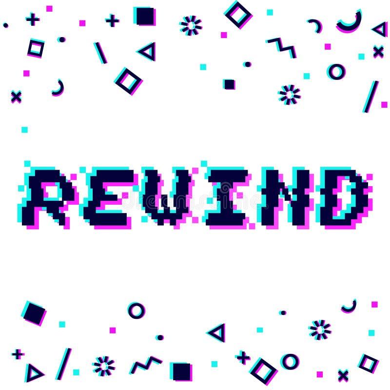 Vector rewind pixel glitch vector illustration