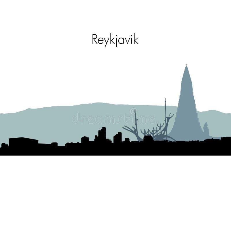 Vector Reykjavik skyline silhouette. stock illustration