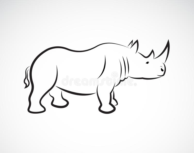 Vector of rhinoceros design on a white background, Wild Animals, Vector elephant for your design. royalty free illustration