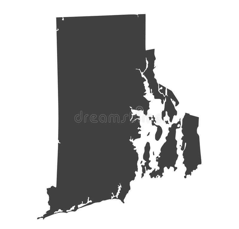 Vector Rhode Island Map silhouette. Isolated Illustration. Black on White background royalty free illustration