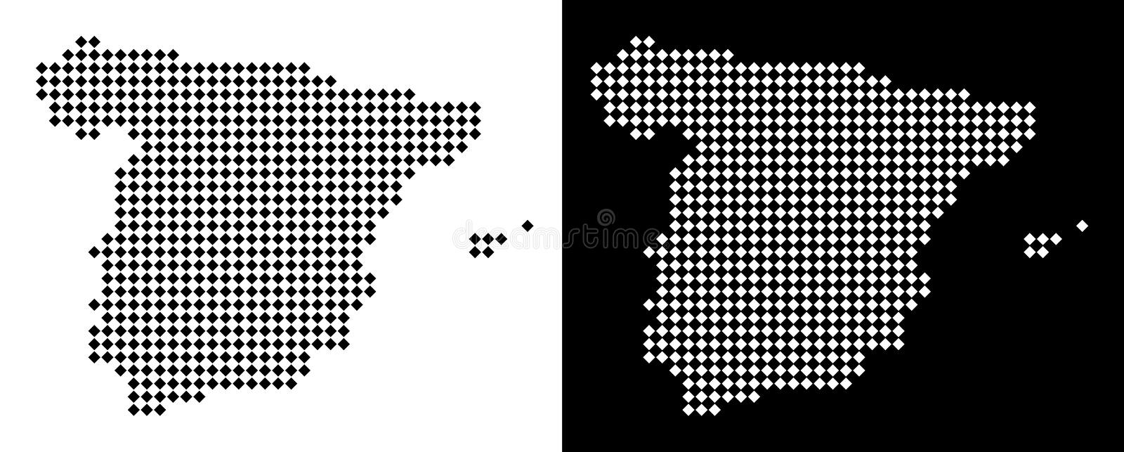 Dot Spain Map. Vector rhombic pixel Spain map. Abstract territorial maps in black and white colors on white and black backgrounds. Spain map created of rhombic vector illustration