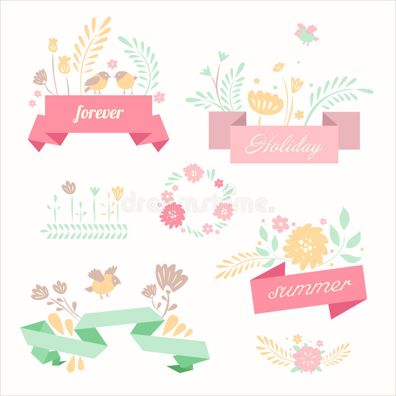 vector ribbon banners in retro style stock vector illustration of