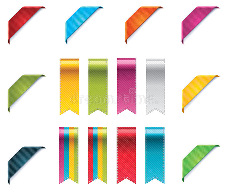 Vector ribbons set. Set of corner ribbons and pennons in different colors