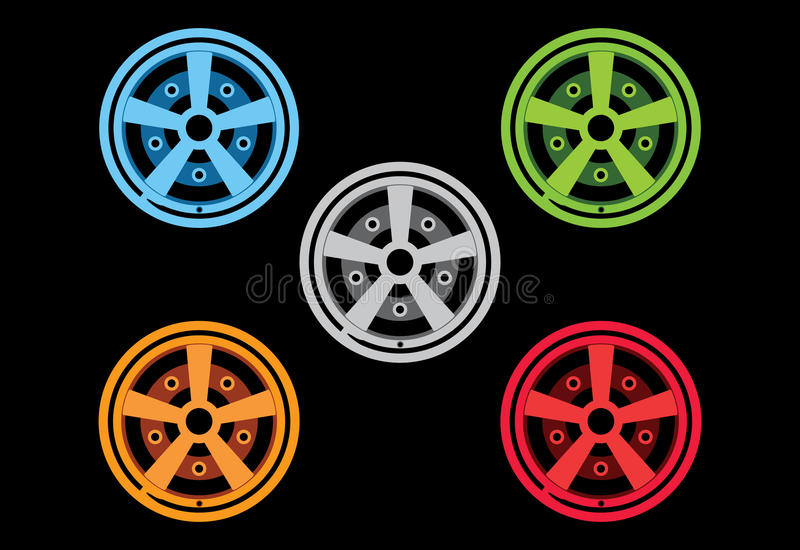 Vector rims 5 color. Vector rims in 5 color silver, blue, green, orange and red royalty free illustration