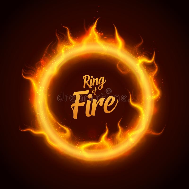 Free Vector Ring Of Orange Fire With Sparks. Procedural Fire Flames Burn Around Glowing Circle. Fire Burning Circle On A Royalty Free Stock Photo - 102940945