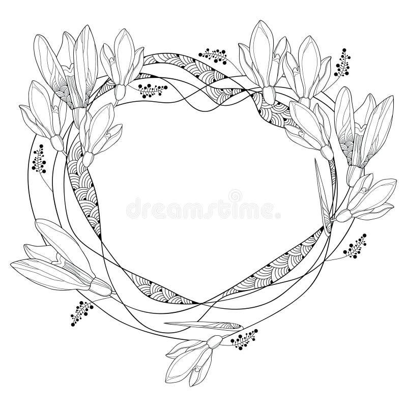 Vector ringsum den Rahmen mit aufwändigen Entwurf Schneeglöckchenblumen oder Galanthus, die, auf Weißrückseite lokalisiert werden vektor abbildung