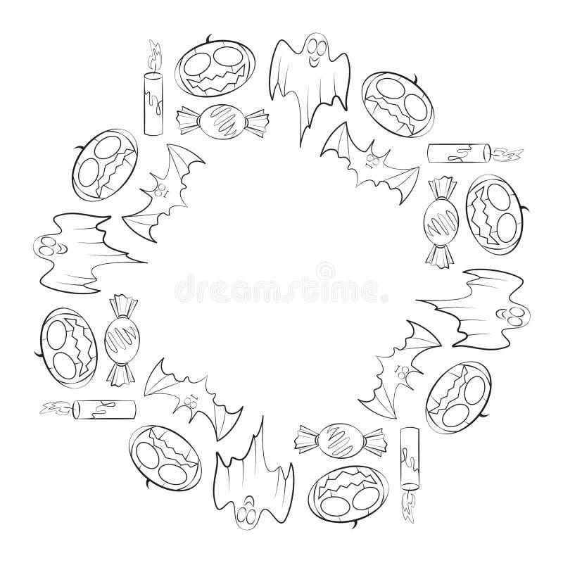 Vector ringsum Rahmen für Halloween-Feiertag aus Konturnkerzen, -candys, -schlägern, -geistern und -kürbisen bestehend stock abbildung
