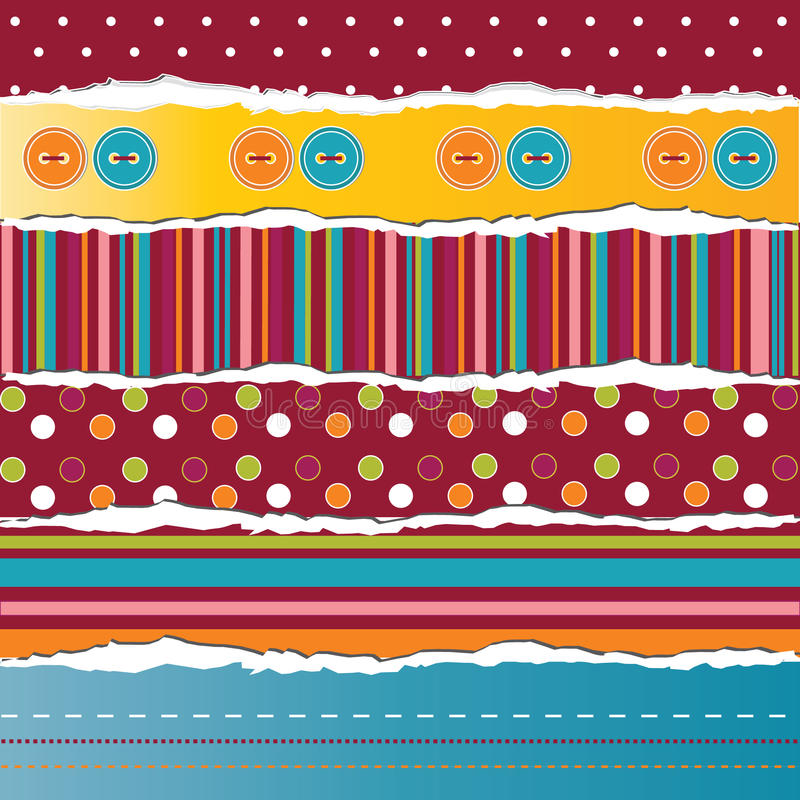 Vector ripped paper stripes. For card or scrapbook design stock illustration