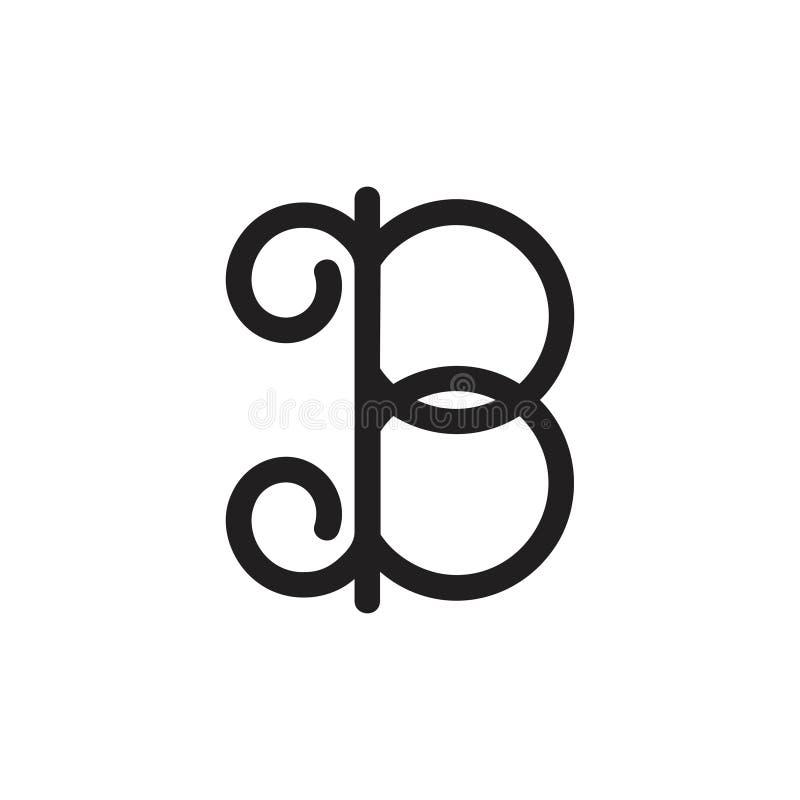 Vector rizado del logotipo del diseño de la letra b libre illustration