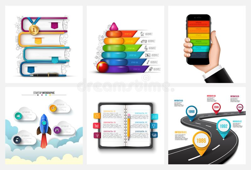 Vector road, children pyramid, mobile phone, rocket, books and notebook. Education, startup, timeline and business stock illustration