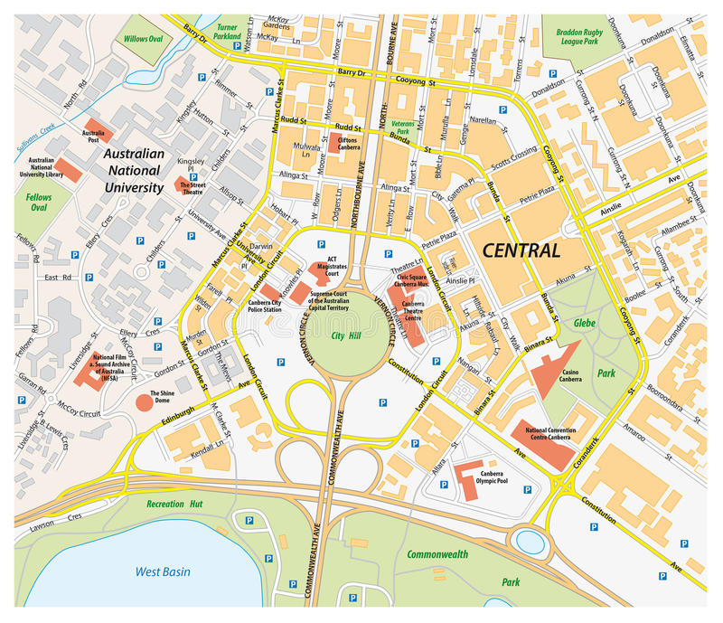 download vector road map of central canberra australia stock vector illustration of highway