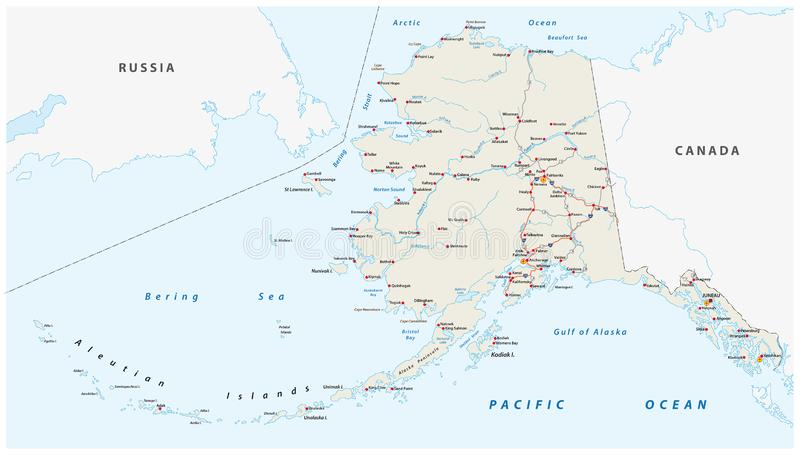Vector road map of the North American state of Alaska, United States of America stock illustration