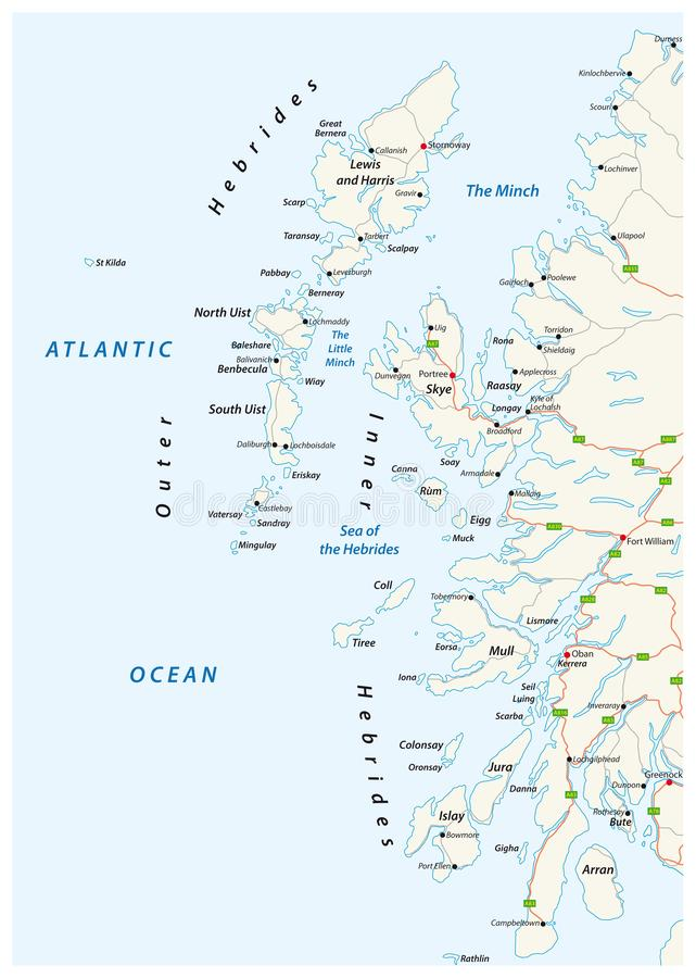 Vector road map of scottish archipelago hebrides at the north west coast of scotland.  stock illustration