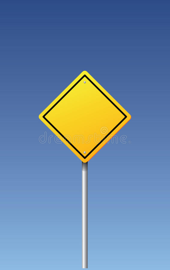 Vector road sign - blank. On blue background royalty free illustration