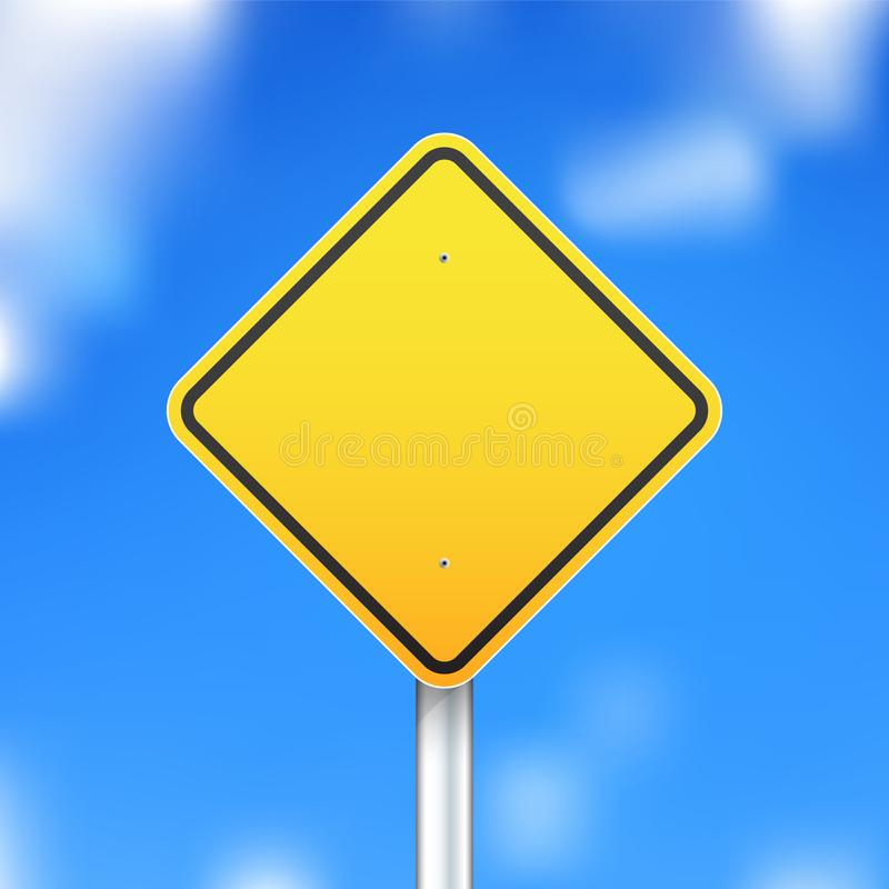 Vector road sign on blue sky background. Yellow road sign on blue sky background. Vector illustration vector illustration