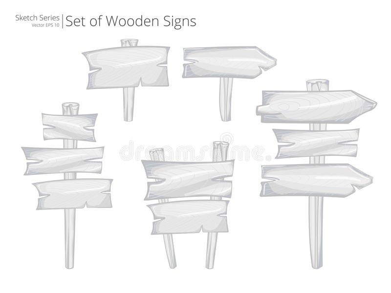 Vector Road signs and Signposts. Illustration Sketch Set of Wooden Road signs and Signposts. Rough style vector illustration