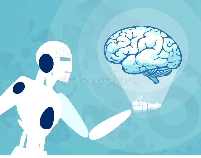 Vector of a robot holding and looking at human brain. Concept of automation and technology vector illustration