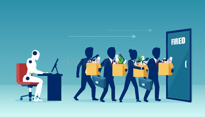 Vector of a robot manager replacing businesspeople being fired vector illustration