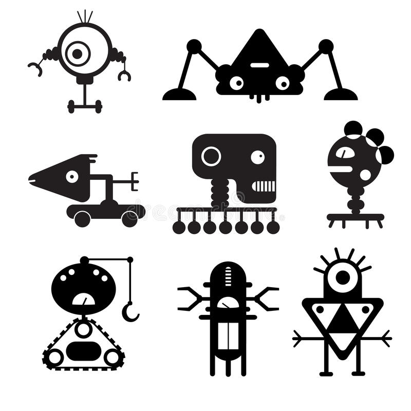 Vector robot silhouettes - Illustration stock images