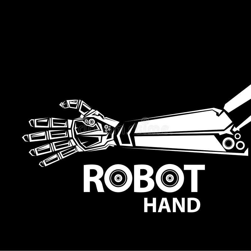 Vector robotachtig wapensymbool Robothand en vlinder royalty-vrije illustratie