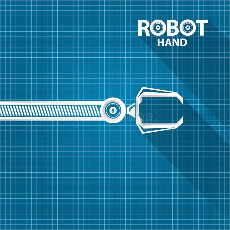 Vector robotic arm symbol on blueprint paper background robot hand vector robotic arm symbol on blueprint paper background robot hand technology background design template malvernweather Choice Image