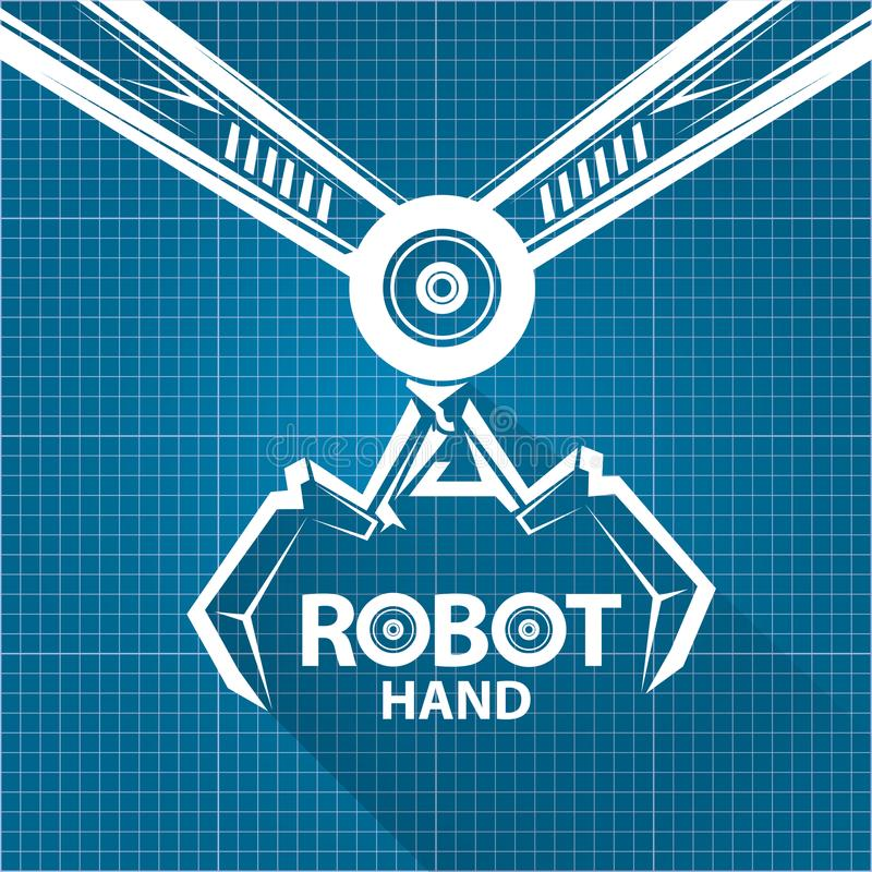 Vector robotic arm symbol on blueprint paper background robot hand download vector robotic arm symbol on blueprint paper background robot hand technology background design malvernweather Gallery