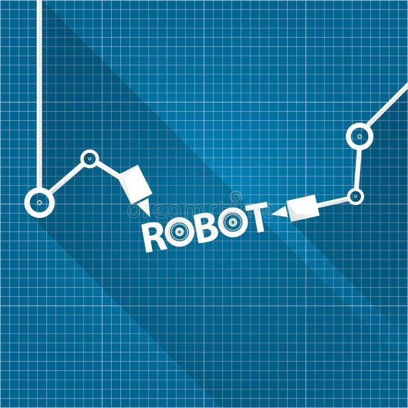 Vector robotic arm symbol on blueprint paper background robot hand download vector robotic arm symbol on blueprint paper background robot hand technology background design malvernweather Gallery