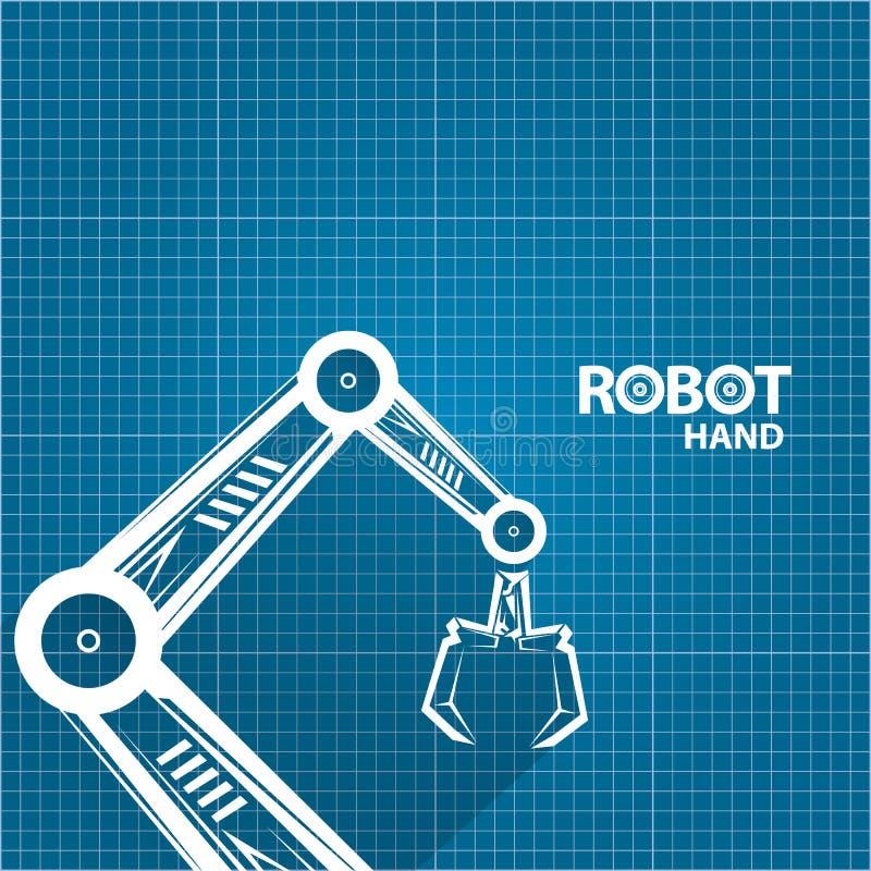Vector robotic arm symbol on blueprint paper background robot hand download vector robotic arm symbol on blueprint paper background robot hand technology background design malvernweather Images