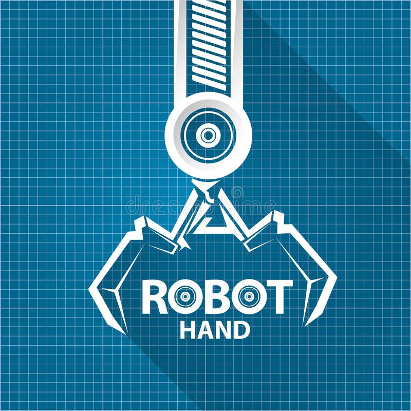 Vector robotic arm symbol on blueprint paper background robot hand download vector robotic arm symbol on blueprint paper background robot hand technology background design malvernweather Choice Image