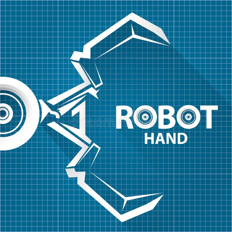 Vector robotic arm symbol on blueprint paper background robot hand download vector robotic arm symbol on blueprint paper background robot hand technology background design malvernweather Image collections