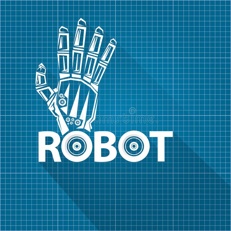 Vector robotic arm symbol on blueprint paper background robot download vector robotic arm symbol on blueprint paper background robot hand technology background design malvernweather Images