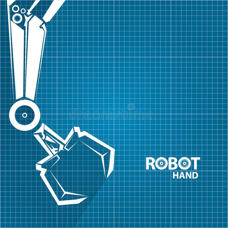Vector robotic arm symbol on blueprint paper background robot hand download vector robotic arm symbol on blueprint paper background robot hand technology background design malvernweather Images