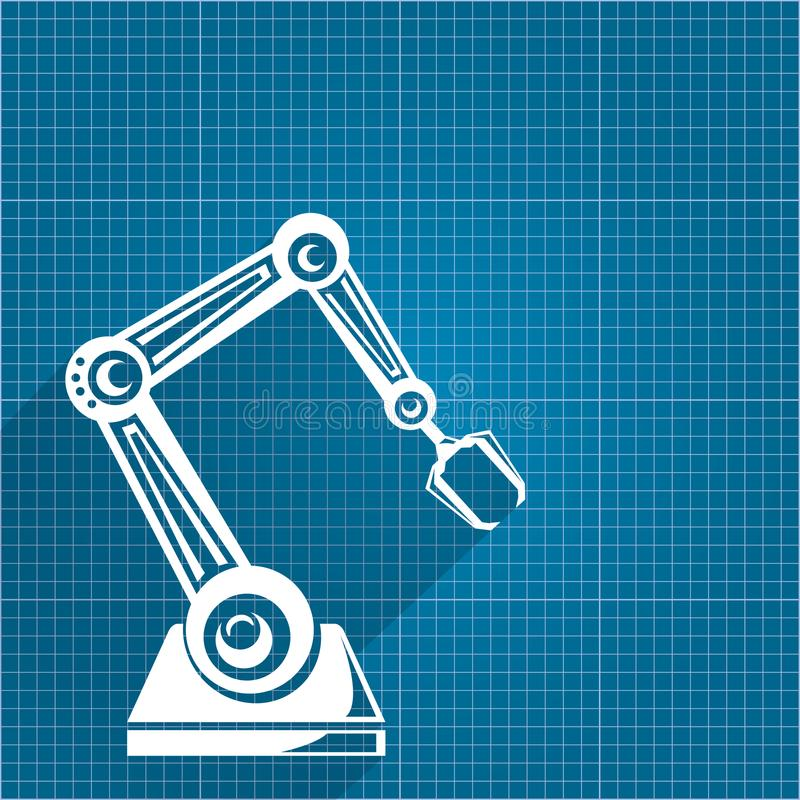 Vector robotic arm symbol on blueprint paper background robot download vector robotic arm symbol on blueprint paper background robot hand technology background design malvernweather Gallery