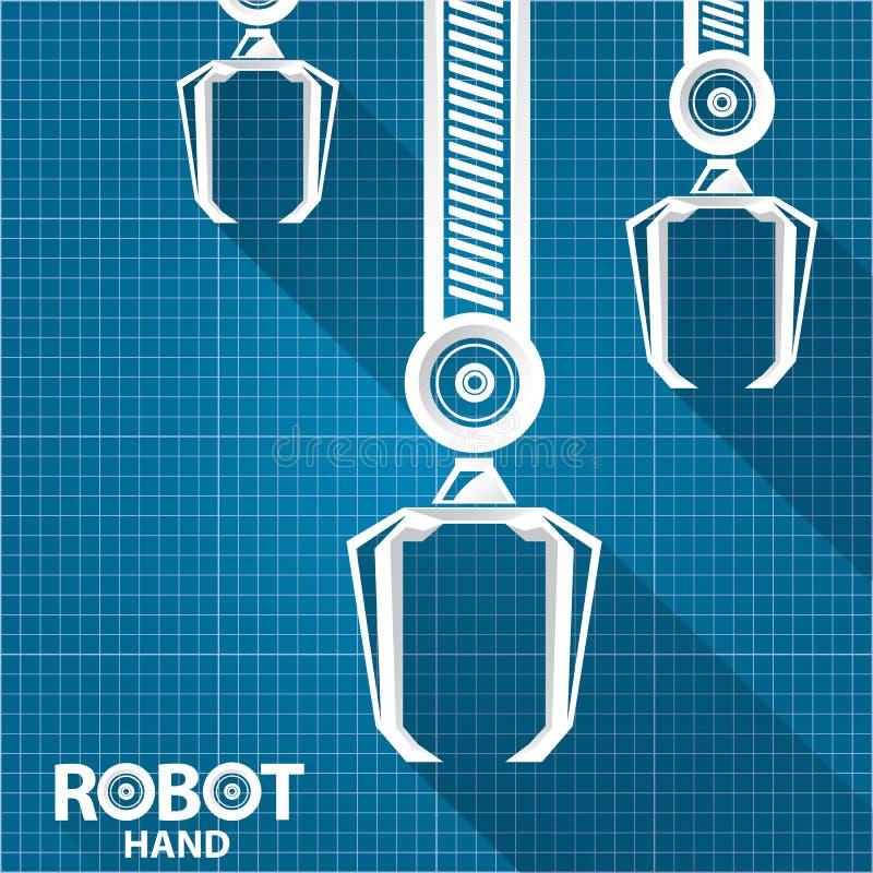 Vector robotic arm symbol on blueprint paper background robot hand download vector robotic arm symbol on blueprint paper background robot hand technology background design malvernweather Image collections