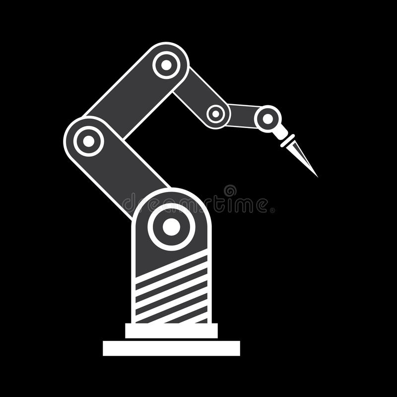 Vector robotic arm symbol. robot hand royalty free illustration