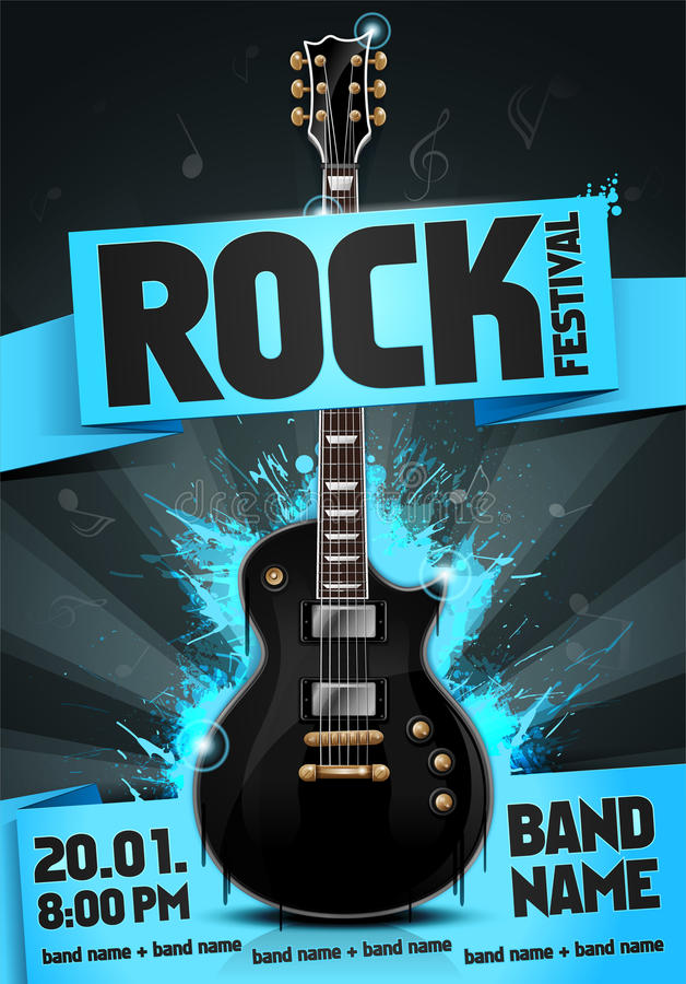 vector illustration blue rock festival party flyer design template with guitar, origami banner and cool splash effects stock images