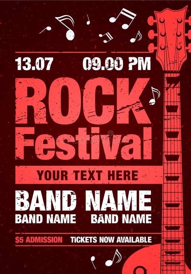 Vector rock festival flyer design template with guitar royalty free stock photos