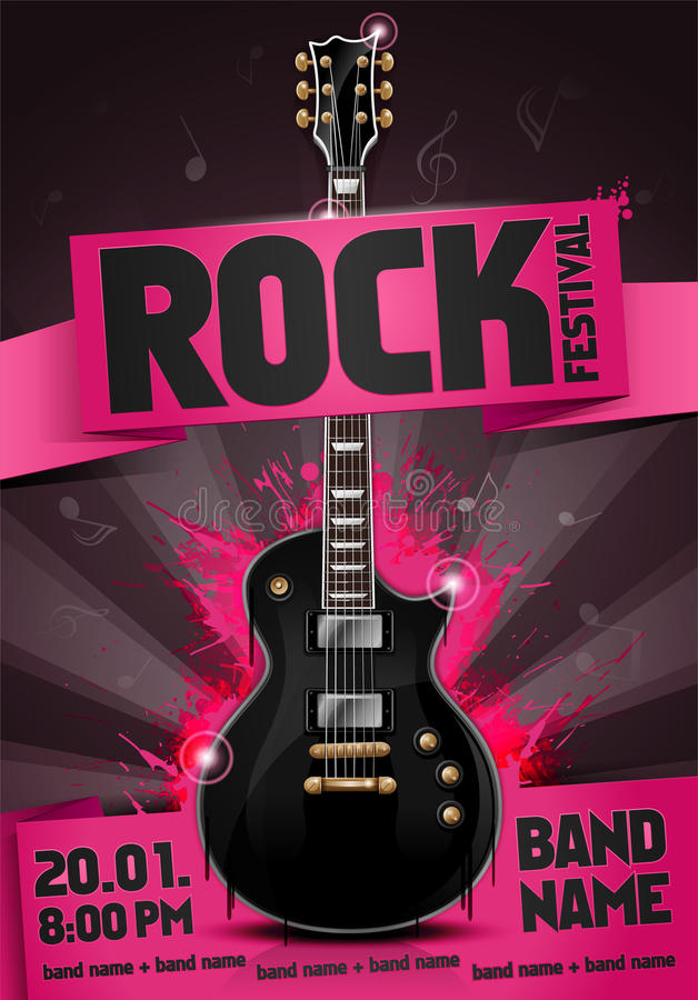 Vector rock festival flyer design template for party stock photo