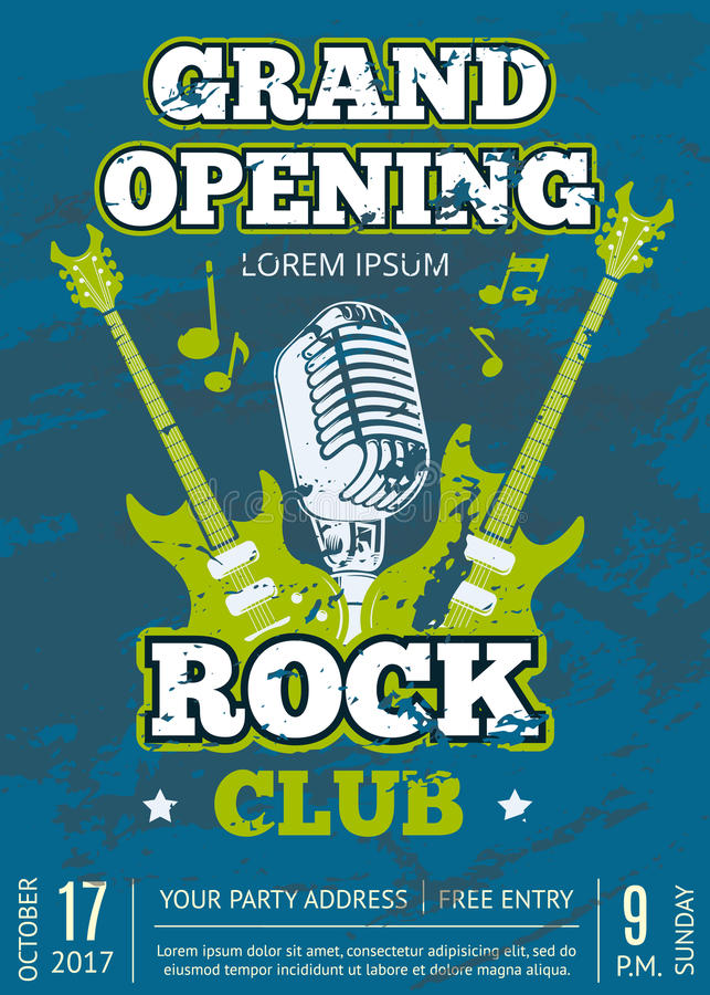 Vector rock music club poster with music guitars and microphone. Retro vector opening rock music club vintage poster with shabby music guitars and microphone vector illustration