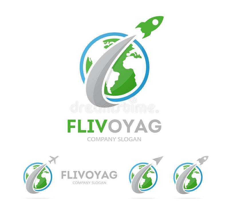 Vector of rocket and earth logo combination. Airplane and world symbol or icon. Unique global and ecology logotype. Vector logo or icon design element for vector illustration