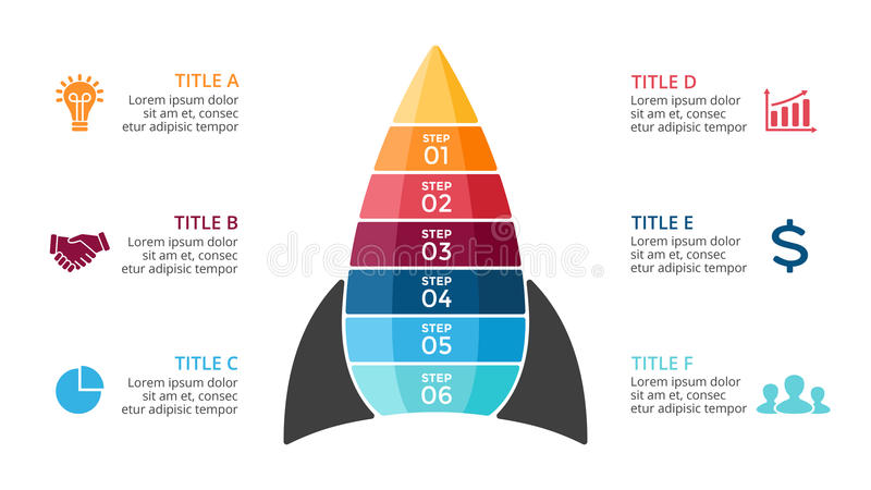 Vector rocket infographic, diagram chart, graph presentation. Business startup concept with six options, parts, steps. Circle arrows diagram for graph vector illustration